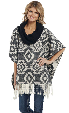 Cripple Creek Womens Black/Cream Polyester Navajo Poncho Jacket