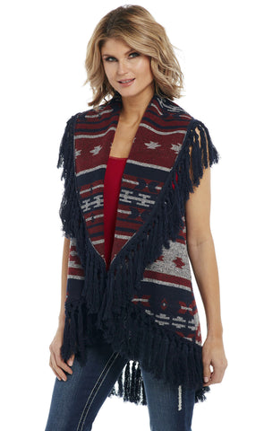 Cripple Creek Womens Navy Multi Polyester Navajo Blanket Fringe Vest