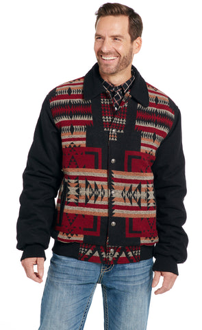 Cripple Creek Mens Black Multi Polyester Navajo Blanket Snap Jacket