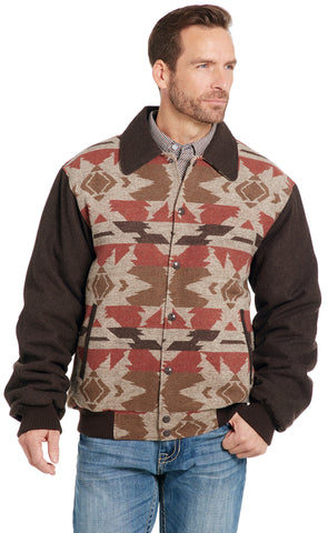 Cripple Creek Mens Brown Multi Polyester Navajo Blanket Snap Jacket