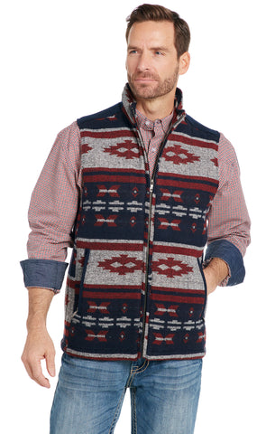 Cripple Creek Mens Navy Multi Polyester Navajo Blanket Zip Vest