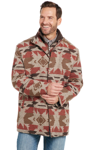 Cripple Creek Mens Cobblestone Polyester Navajo Blanket Zip Coat