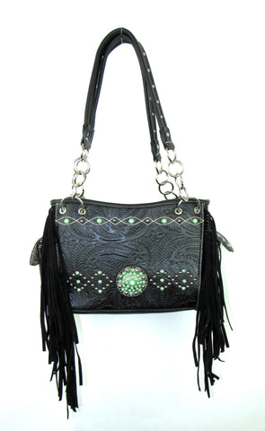 Savana Stones Black Faux Leather Fringe Bag