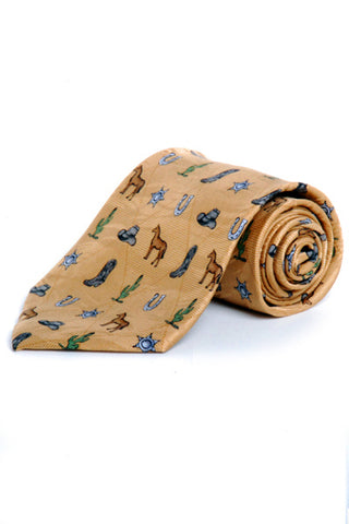 Circle S Mens Camel 100% Silk Necktie Cowboy Elements