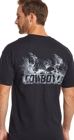 Cowboy Up Mens Black Cotton S/S T-Shirt Round Up