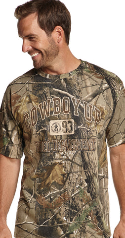 Cowboy Up Mens Realtree Camo Cotton S/S T-Shirt Crew Neck Hunting
