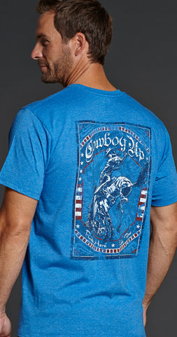 Cowboy Up Mens Blue Cotton S/S T-Shirt Vintage Rodeo