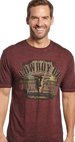 Cowboy Up Mens Red Cotton S/S T-Shirt Talk the Bull Rodeo