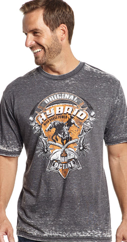 Cowboy Up Mens Gray Cotton S/S T-Shirt Original Hybrid Burnout