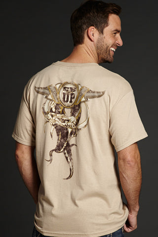 Cowboy Up Mens Tan Cotton S/S T-Shirt Horned Snake Crew