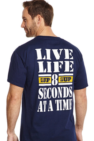 Cowboy Up Mens Navy Cotton S/S T-Shirt Live Life 8 Seconds at a Time