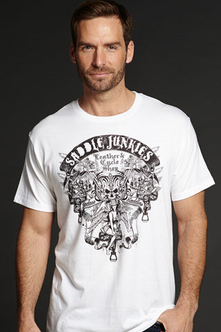 Cowboy Up Mens White Cotton S/S T-Shirt Saddle Junkies