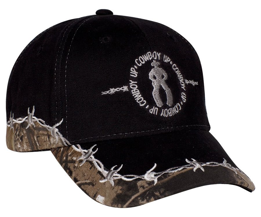 Cowboy Up Mens Black Cotton Baseball Cap Barbwire Camo – The Western ... db16a1fab79