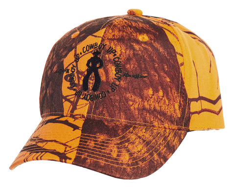 Cowboy Up Mens Orange Camo Cotton Baseball Cap Hunting