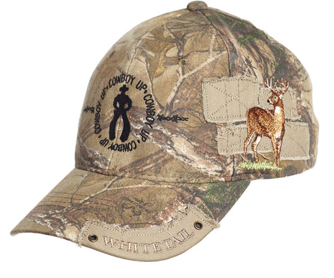 Cowboy Up Mens Camo Cotton Baseball Cap Whitetail Deer Patches