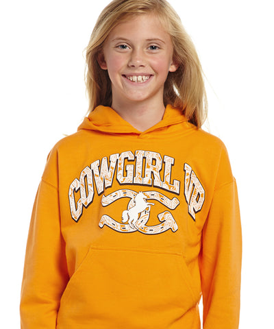 Cowgirl Up Girls Yellow Cotton Hoodie Sweatshirt Logo