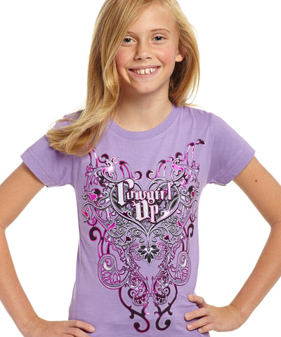 Cowgirl Up Girls Purple Cotton S/S T-Shirt Scroll