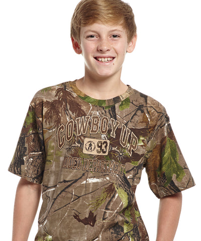 Cowboy Up Boys Brown Camo Cotton S/S T-Shirt Realtree Rodeo