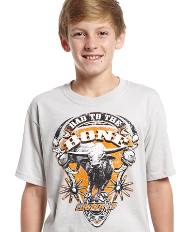 Cowboy Up Boys White Cotton S/S T-Shirt Bad to the Bone