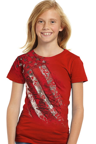 Cowgirl Up Girls Red Cotton S/S T-Shirt Foil Flag