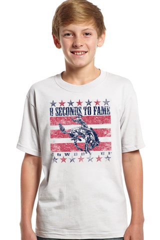 Cowboy Up Boys White Cotton S/S T-Shirt 8 Seconds to Fame Flag