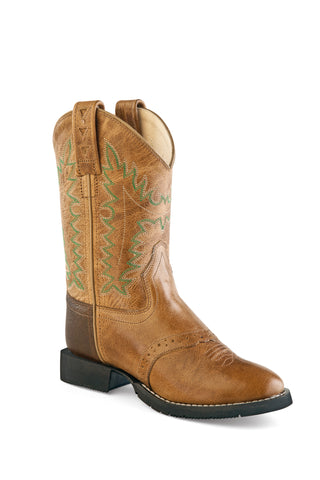 Old West Tan Kids Boys Leather Saddle Cowboy Boots