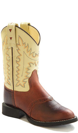 Old West Oyester Childrens Boys Oiled Leather Round Toe Cowboy Boots