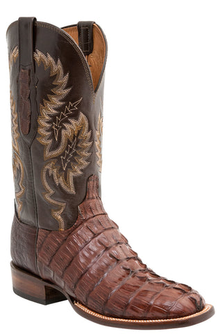 Lucchese Mens Cowboy Boots Brown Hornback Caiman Tail