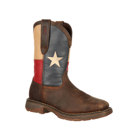 Durango Mens Multi-Color Leather ST Texas Flag Work Boots