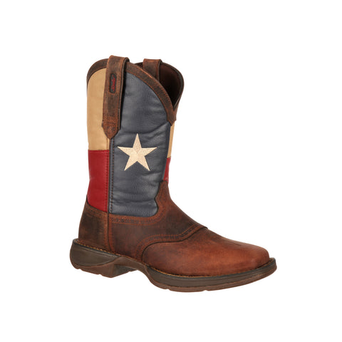 Durango Mens Brown Leather Texas Flag Pull On Saddle Cowboy Boots