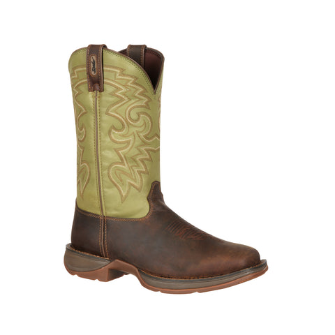 Rebel by Durango Mens Coffee Leather Cactus Pull-On Cowboy Boots
