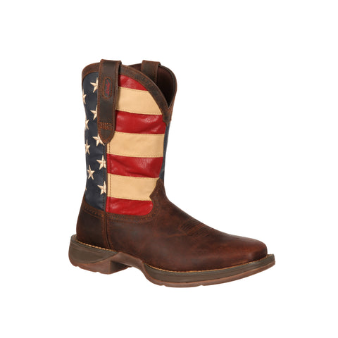 Rebel by Durango Mens Brown Leather American Flag Cowboy Boots