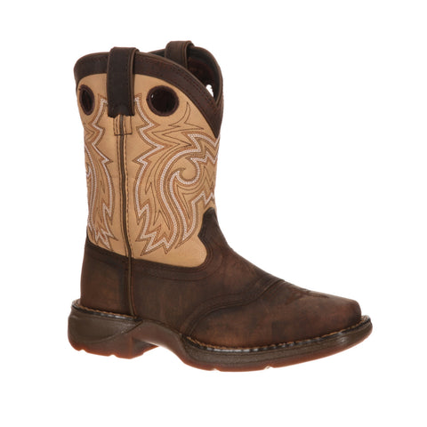 Lil Durango Big Kids Brown/Tan Leather Saddle Western Cowboy Boots