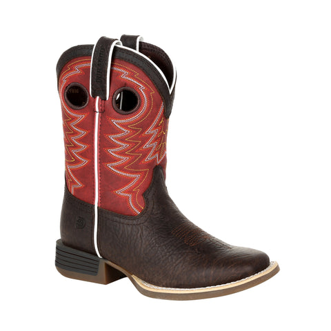 Lil Durango Little Kids Chestnut/Crimson Leather Rebel Pro Cowboy Boots