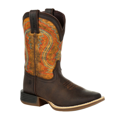 Durango Youth Dark Bay/Burnt Orange Leather Lil Rebel Pro Cowboy Boots