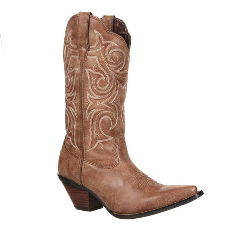 Durango Womens Cinnamon Faux Leather Scall-Upped Crush Cowboy Boots