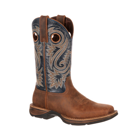 Rebel by Durango Mens Brown/Navy Leather Saddle Western Cowboy Boots