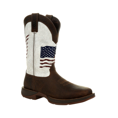 Durango Mens Bay Brown/White Leather Rebel USA Flag Cowboy Boots