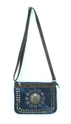 Savana Stones Denim Blue Faux Leather Crossbody Bag