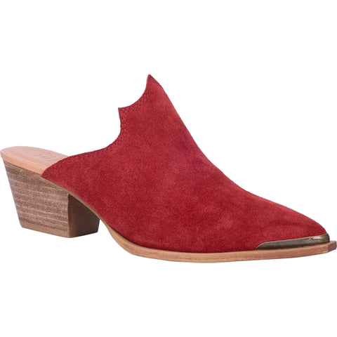 Dingo Womens Knockout Mule Shoes Leather Red
