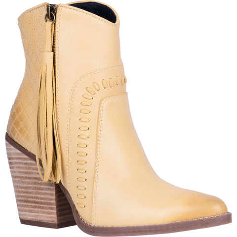 Dingo Womens Yellow Dream Big 6in Zip Fringe Ankle Boots Leather