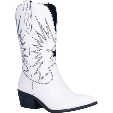 Dingo Womens White Rockstar 10in Western Cowboy Boots Leather