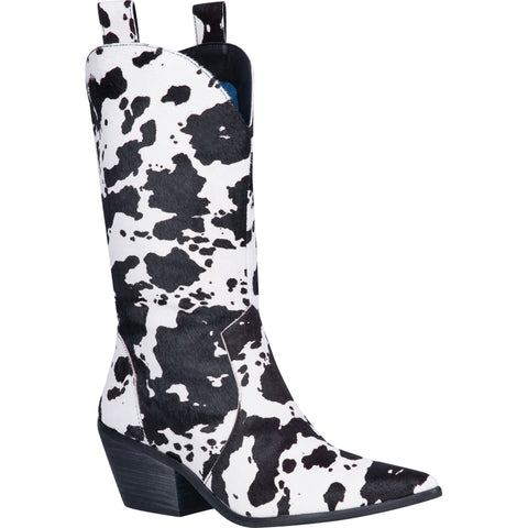 Dingo Womens Black Live A Little Cowprint Cowboy Boots Leather