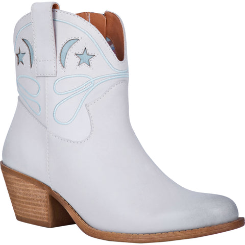 Dingo Womens Urban Cowgirl Ankle Boots Leather Off White