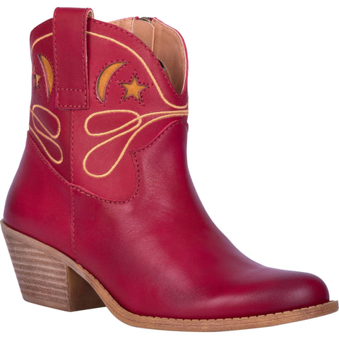 Dingo Womens Urban Cowgirl Ankle Boots Leather Red
