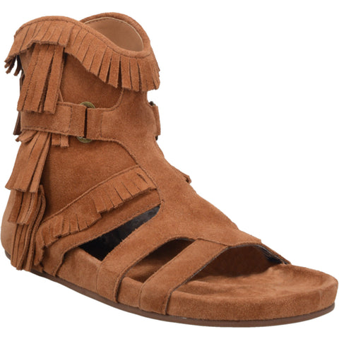 Dingo Womens Whiskey Sunny Day Fringe Open Toe Ankle Boots Leather