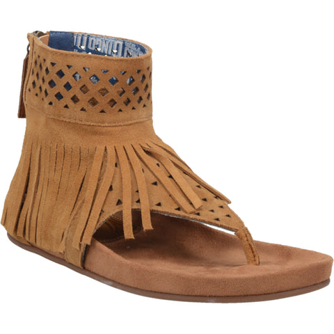 Dingo Womens Camel Heat Wave Fringe Zip Ankle Boots Leather