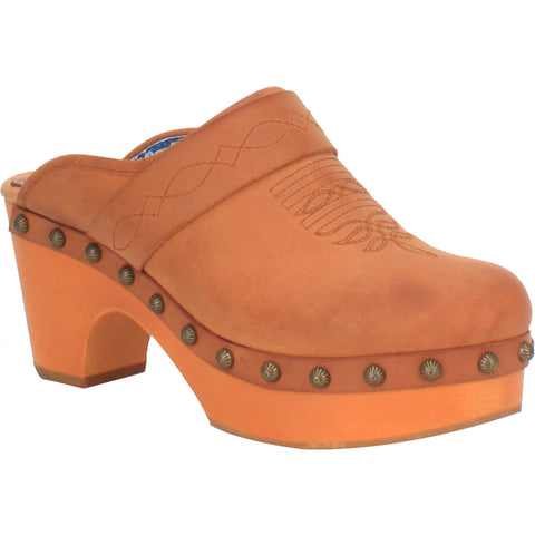 Dingo Womens Tan Latigo Stud Western Mule Shoes Leather