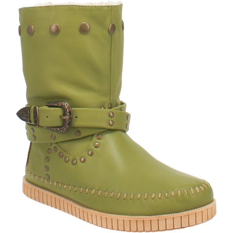 Dingo Womens Lime Malibu Harness Moc Ankle Boots Leather