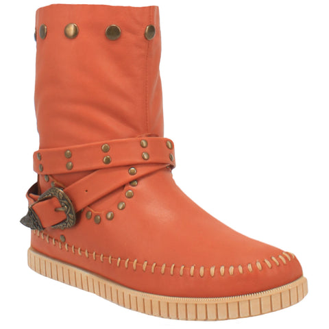Dingo Womens Rust Malibu Harness Moc Ankle Boots Leather